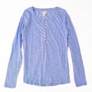 Mossimo Supply Co. Blue Long Sleeve Henley Shirt
